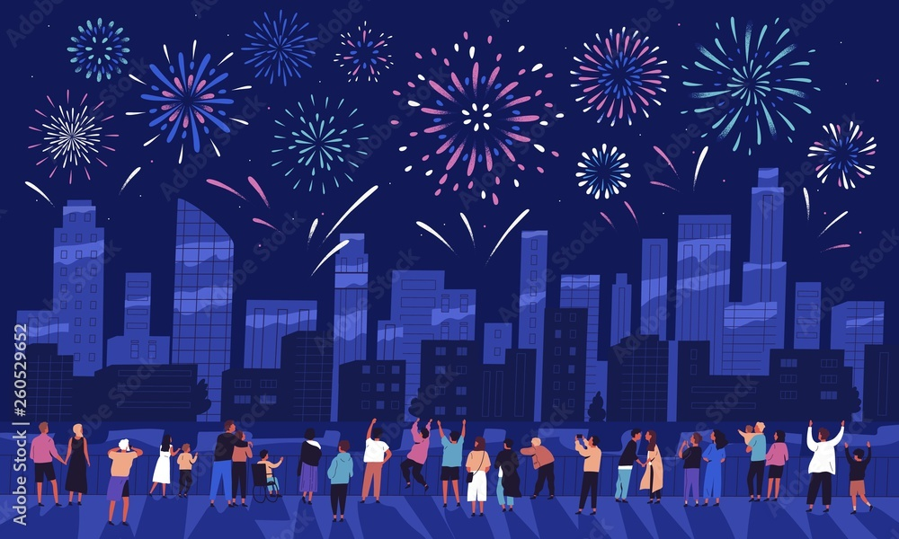 Fototapety, obrazy: Crowd of people watching fireworks displaying in dark evening sky and celebrating holiday against city buildings. Festival celebration, pyrotechnics show. Flat cartoon colorful vector illustration.