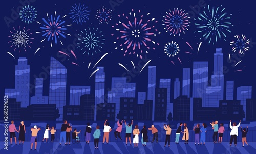 Crowd of people watching fireworks displaying in dark evening sky and celebrating holiday against city buildings. Festival celebration, pyrotechnics show. Flat cartoon colorful vector illustration. - 260529652