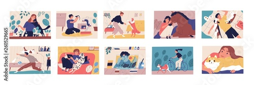 Bundle of scenes with pet owners. Collection of cute funny men and women spending time with their domestic animals, walking, cuddling and playing with them. Flat cartoon colorful vector illustration.