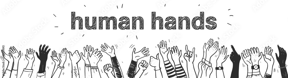 Fototapeta Vector hand drawn sketch style illustration with black colored human hands different skin colors greeting & waving isolated on white background. Crowd, party, sale concept. For advertising, packaging.