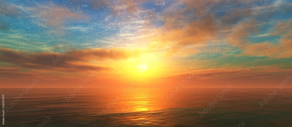 Fototapety, obrazy: Beautiful sunset over the water surface, sea sunrise, ocean sunset