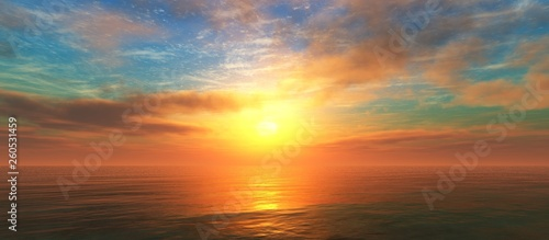 Beautiful sunset over the water surface, sea sunrise, ocean sunset