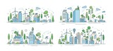 Fototapeta Miasto - Collection of cityscapes or urban landscapes with eco city using ecologically friendly technologies - wind power, solar energy, electric transport. Modern vector illustration in line art style.