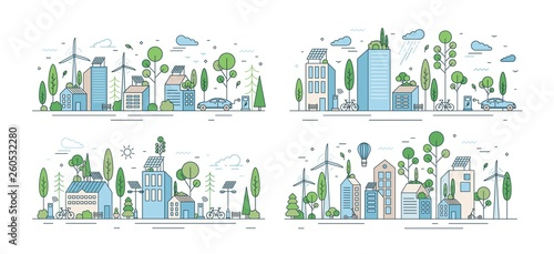 Obraz Collection of cityscapes or urban landscapes with eco city using ecologically friendly technologies - wind power, solar energy, electric transport. Modern vector illustration in line art style. - fototapety do salonu