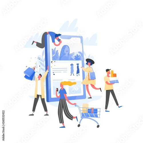 Poster Hoogte schaal Composition with crowd of crazy customers or shopaholics carrying shopping carts with purchases, bags and boxes and giant tablet PC. Online store or internet shop sale. Flat vector illustration.