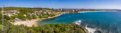 Photo Stands Nice Panoramic view of Shelley Beach and Manly beach on a busy summer afternoon in Sydney Australia