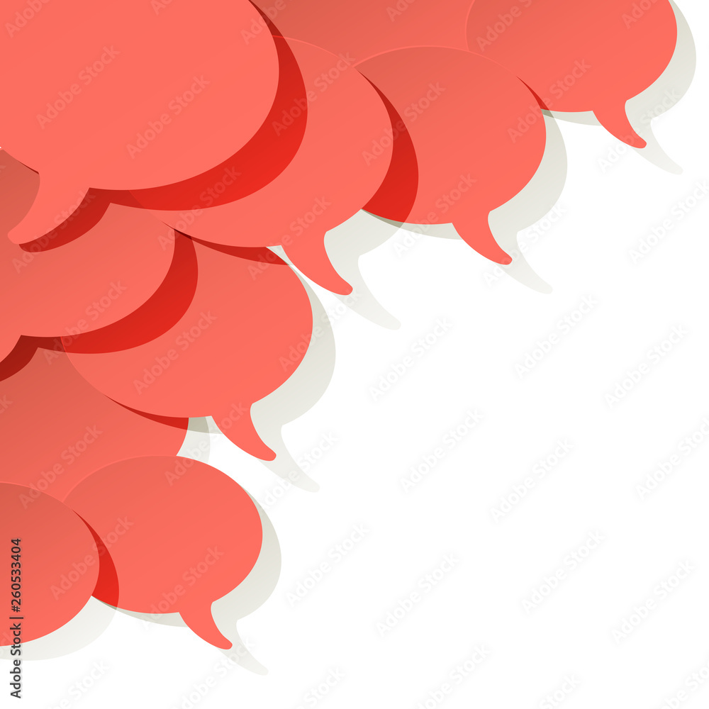 Fototapeta Chat speech bubbles vector ellipse Coral color on a white background in the corner