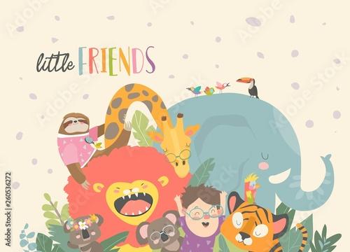 Little boy with cartoon animal. Happy friends