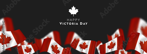 Cuadros en Lienzo Victoria Day in Canada Vector Illustration, realistic rippling canadian flag