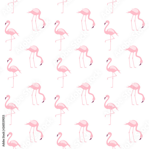 Canvas Prints Flamingo Bird Cute Pink Flamingo Seamless Repeat Pattern for Textile, Print or Web Design. Vector.