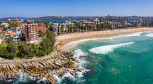 Aerial Panorama Of Manly Beach...