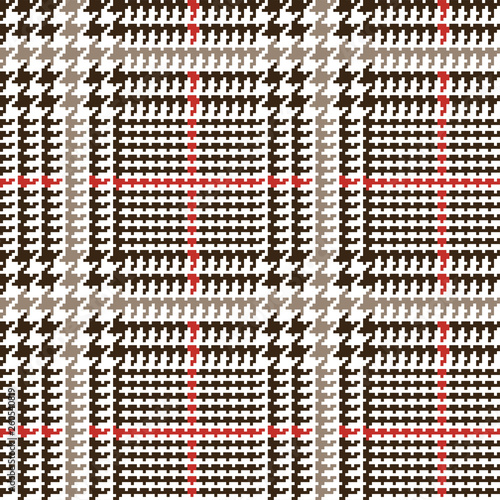 Brown Glen Plaid Seamless Vector Pattern with Red and Beige Overcheck Stripes Wallpaper Mural