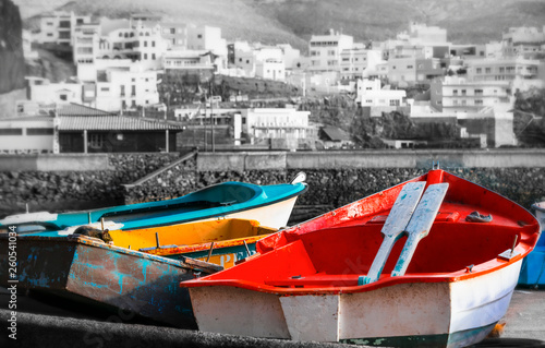 old colorful fishing boats in Puertito de Sardina fishing village, Grand Canary island