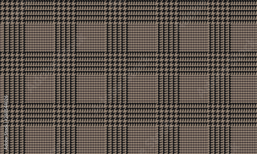 Photo  Brown Glen Plaid Seamless Vector Pattern with Black 5x5 Houndstooth Check
