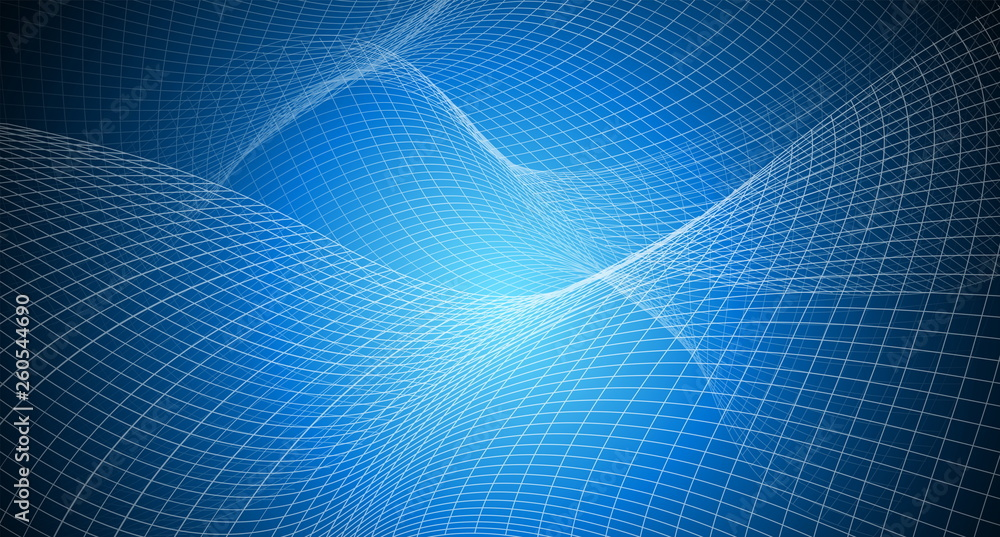 Fototapeta copy space with abstract background irregular grid, mesh pattern on blue light,geometric and line,technology network and science concept in future and global international