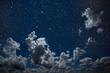 Leinwandbild Motiv backgrounds night sky with stars and moon and clouds.