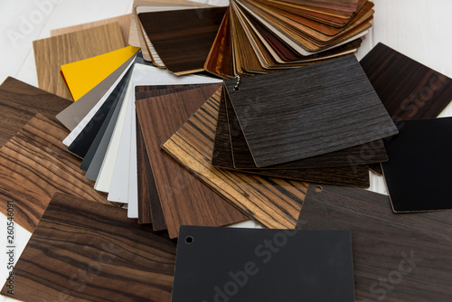 Fototapeta Colorful and different wooden samples on table obraz na płótnie