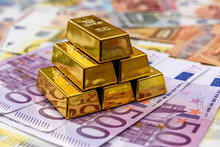 Pyramid Of Gold Bullion On Eur...