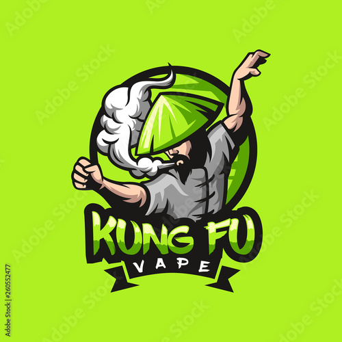 Valokuva kungfu vape logo design ready to use