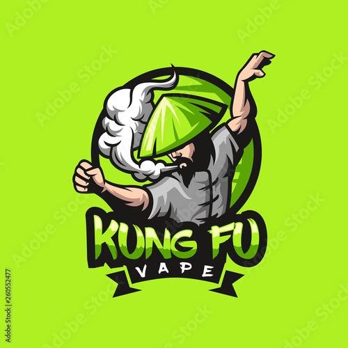 Photo kungfu vape logo design ready to use