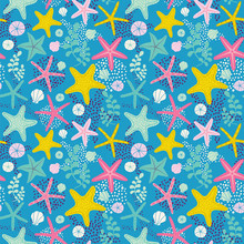 Seamless Vector Pattern With Starfishes And Seaweeds. Underwater Background.