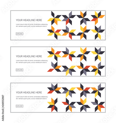 Web banner design template set consisting of abstract background