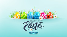 Happy Easter Sale Poster And Template With Easter Eggs And Flower On Blue.Greetings And Presents For Easter Day.Promotion And Shopping Template For Easter Day.Vector Illustration EPS10