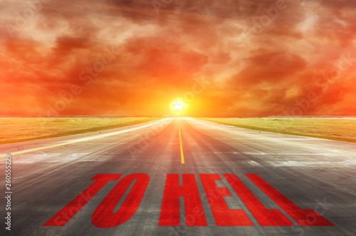The road with inscription leading straight to the devil to hell. фототапет