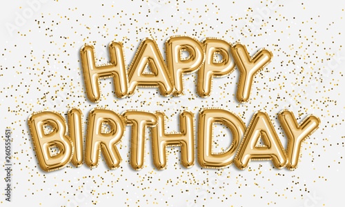 Happy Birthday made of balloon letters on white background Canvas Print