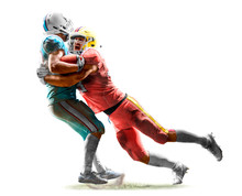 American Football Players In Action White Isolated