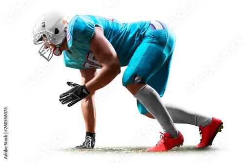 Fototapeta one american football player man studio isolated on white background obraz
