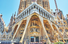 BARCELONA, SPAIN -MAY 19, 2018: The Basilica I Temple Expiatori De La Sagrada Familia In Barcelona