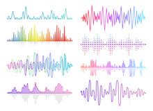 Vector Music Sound Waves Set. ...