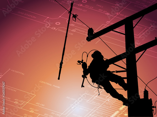 Fototapeta The silhouette power lineman disconnect the cable to replace the defective device that causes power outage. Before returning power to the power user. Background is single line diagram of distribution. obraz