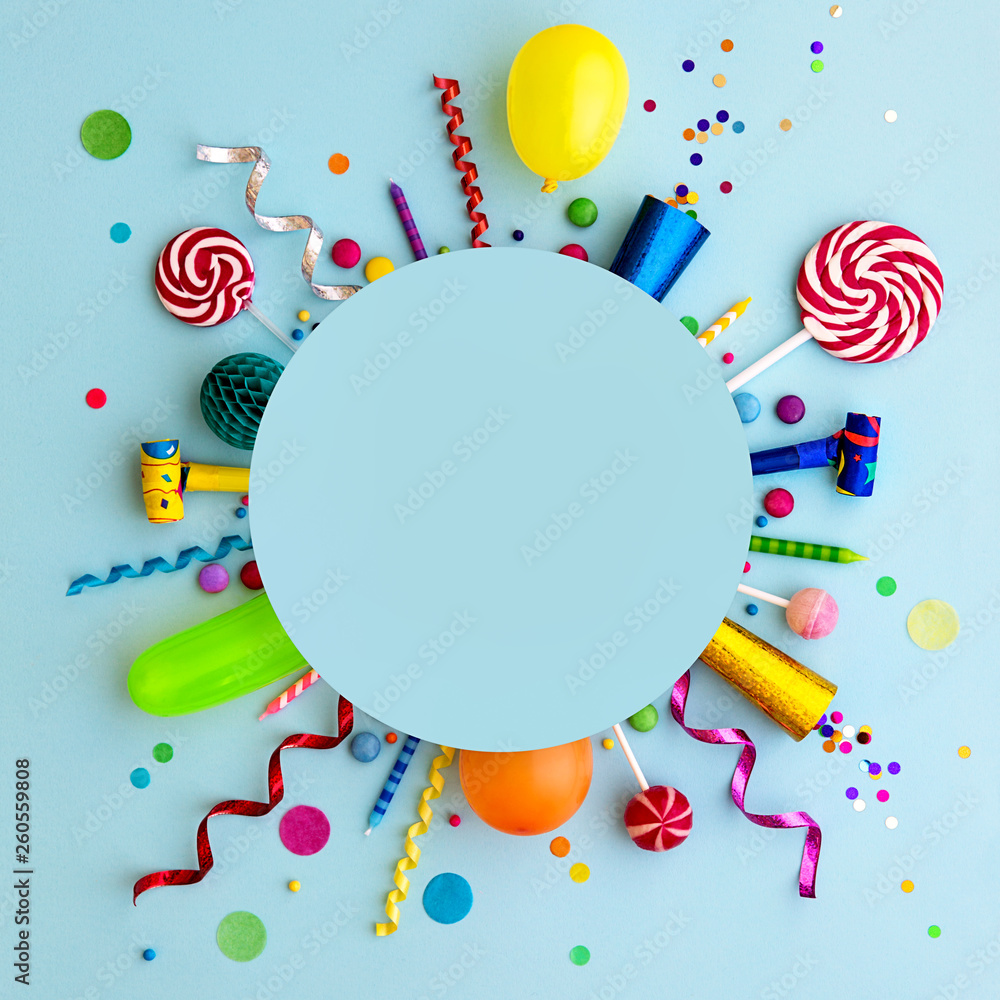 Fototapeta Colorful birthday party flat lay background