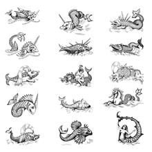Mythological Vintage Sea Monster. Fragment Design Of Old Pirate Or Fantasy Geographical Map
