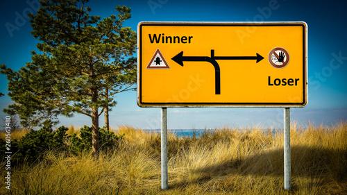 Fotografie, Obraz  Street Sign Winner versus Loser