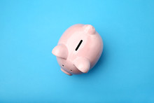 Pink Piggy Bank On Blue Background