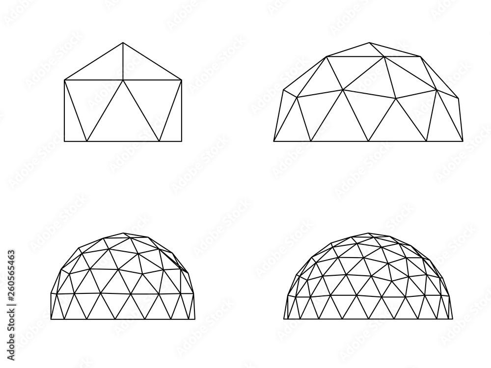 Fototapety, obrazy: Geodesic domes illustration vector