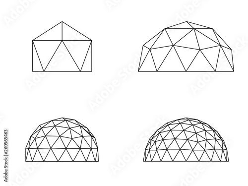 Fotografie, Tablou Geodesic domes illustration vector