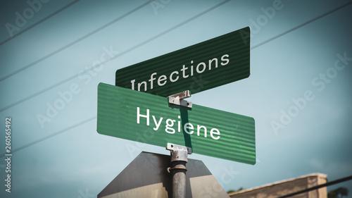 Fotografía  Street Sign Hygiene versus Infections