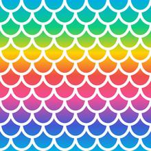 Rainbow Mermaid Seamless Pattern. Holographic Mermaid Scale Background. Fish Scale Background. Vector