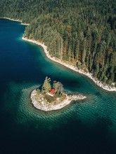 Aerial View Of Little Island On Alpine Lake Eibsee,Germany.