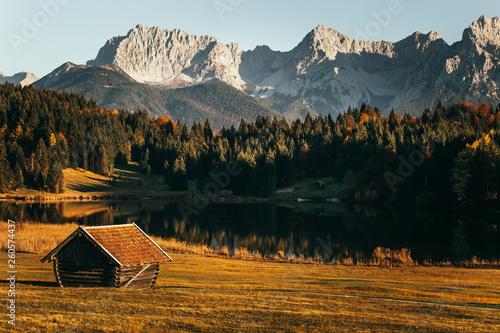 Alpine Wooden Huts Rural Fields Majestic Karwendel