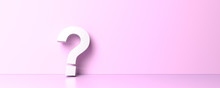 White Question Mark On Pink Ba...