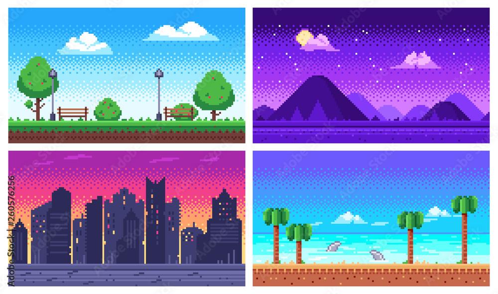 Fototapeta Pixel art landscape. Summer ocean beach, 8 bit city park, pixel cityscape and highlands landscapes arcade game vector background