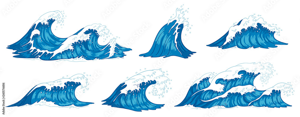 Fototapety, obrazy: Ocean waves. Raging sea water wave, vintage storm waves and ripples tides hand drawn vector illustration