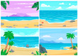 Summer beach. Ocean or sea shore, beaches landscape and daytime sand beach cartoon vector background illustration