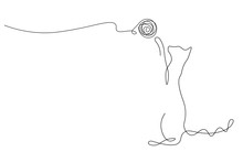 Cat Playing Toy Ball One Line Drawing Vector Illustration