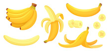 Cartoon Bananas. Peel Banana, ...